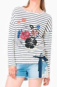 DESIGUAL-Ringel-Shirt-Longsleeve-Langarmshirt-ECRU-mit-Blumenprint-NEU