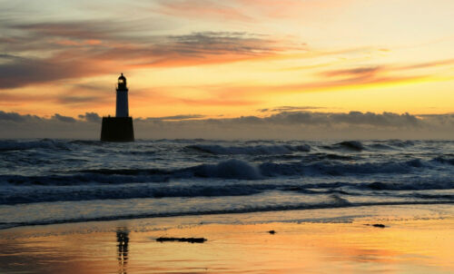 Picture Poster Art Lighthouse on the Shores of a Stormy Ocean Framed Print