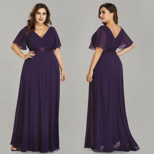 917e8b84684 Ever-pretty US Women Plus Size Evening Gowns Double V-neck Cocktail ...