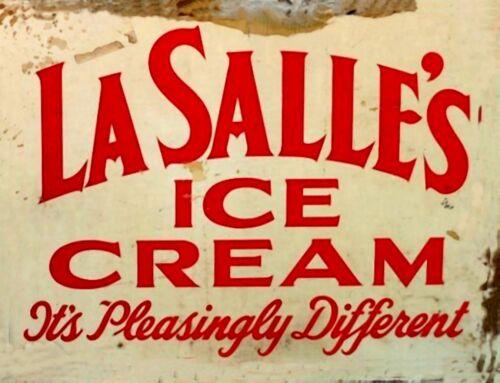 "TIN SIGN /""LaSalle/'s Ice Cream/"" Vintage Dairy   Garage Wall Decor"