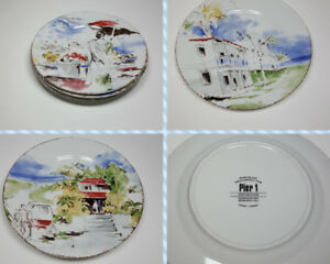 Pier-1-Destination-Plates-Painted-Decoration-Porcelain-Set-of-3