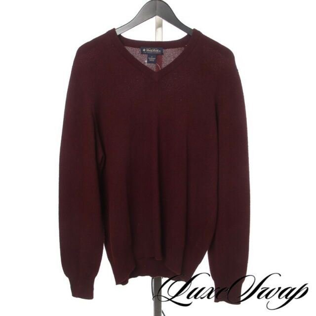 Brooks Brothers Made in Scotland 100% PURE Cashmere Deep Maroon V-Neck Sweater M