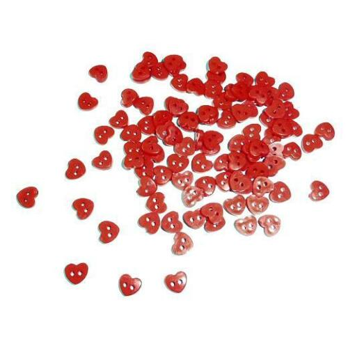 Buddly Crafts 5mm Miniature Buttons 100pcs Red Hearts