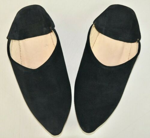 WOMENS MOROCCAN LEATHER SUEDE POINTY POINTED BABOUCHE SLIPPERS SHEEPSKIN MAHABIS