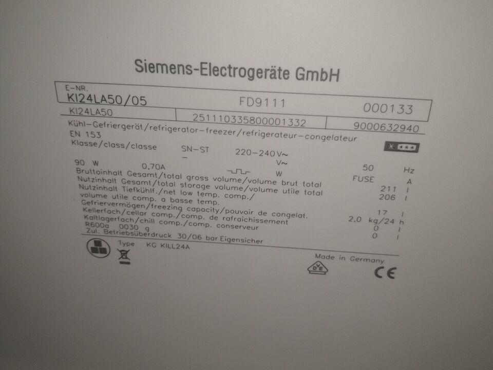 Køle/fryseskab, Siemens ki24la50, 189 liter