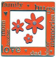K&co Bright Orange 3 X 3 Enamel Frame & Doodads Scrapbooking Family