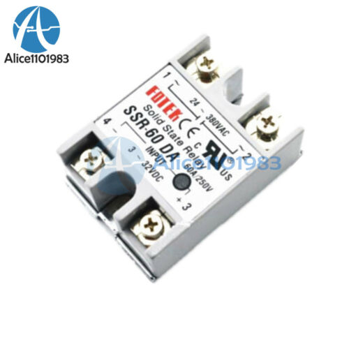 2PCS 24V-380V 60 A 250 V SSR-60 DA Solid State Relay Module 3-32 V DC à AC
