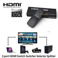 5 Port Video HDMI Switch Switcher Selector Splitter+IR Remote for HDTV PS3 #K