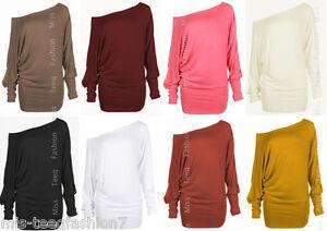 Womens-Long-Sleeve-Off-Shoulder-Plain-Ladies-One-Shoulder-Batwing-Top-Tshirt