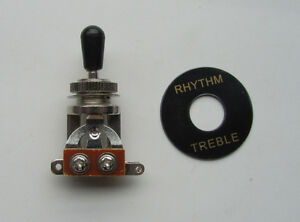 Chrome w// Black Tip 3-way Guitar Toggle Switch for LP