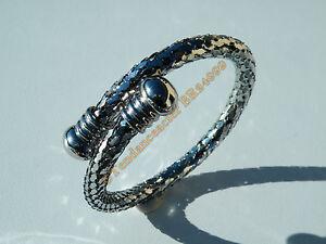 Bracelet-Bangle-Jonc-Ajustable-Argente-Acier-Inoxydable-Maille-Serpent-Ecailles