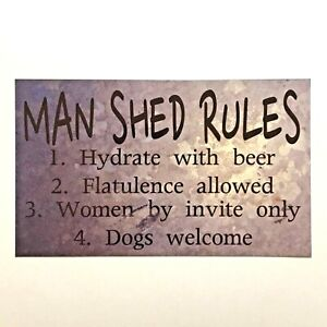 Man-Shed-Rules-Garage-Cave-Beer-Tools-Room-Rustic-Wall-Plaque-or-Hanging