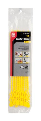 L Yellow  Beaded Cable Tie  15 pk Gardner Bender  Beadle Wrap  8 in