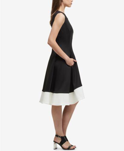 voorkant jurk witte Nieuwe maat 520 Dkny ritssluiting kleur dames hals ronde met 4 blok zwarte 77PTqwna4