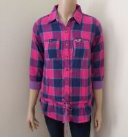 Hollister Womens Plaid Button Down Tunic Shirt Size Small Top Purple Pink