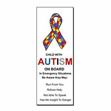 Autism Awareness Sticker//Decal Child on board for First Responders Warning p69