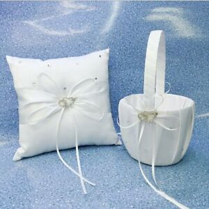 Crystal-Heart-Bridal-Wedding-Party-Flower-Girl-Basket-Ring-Bearer-Pillow-4-034-US