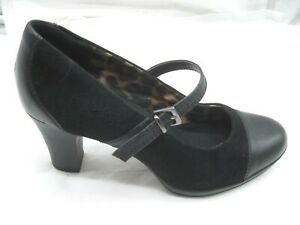 Clarks-size-8-5M-black-suede-Mary-Janes-womens-shoes-heels-pumps-26060592