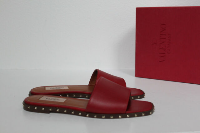090602e0fcf5 New sz 5   35 Valentino Red Leather Soul Rockstud Gold Stud Slide Flat Shoes