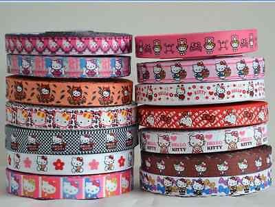 "Mixed Lot 14 yards 22mm 7/8"" Hello Kitty Printed Grosgrain Ribbon DIY BOW KK3-"
