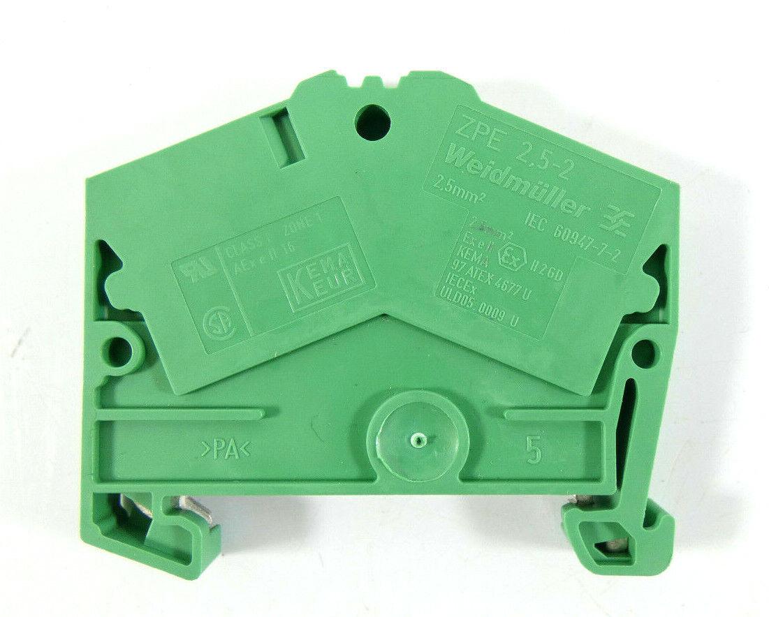 75 x Weidmüller Schutzleiter-Reihenklemme ZPE 2.5-2 4AN   1706100000   green