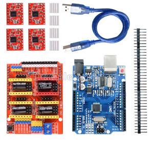 CNC-Shield-V3-0-UNO-R3-Board-A4988-Driver-Heatsink-Kits-for-Arduino-NEW