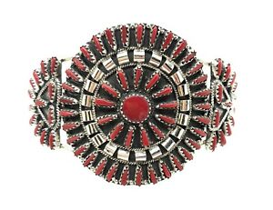 Navajo stabilize Coral Cluster Sterling Silver Cuff Bracelet By Violet Begay