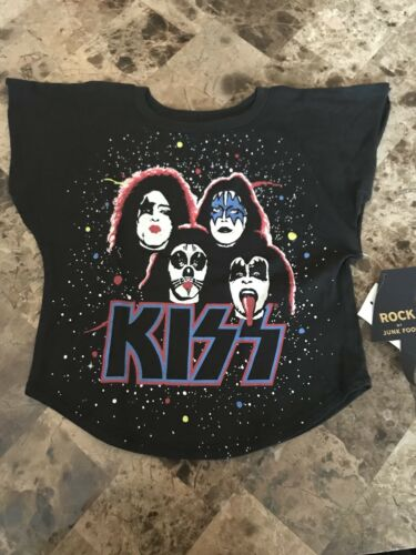 NWT Toddler Girls Black Short Sleeve Graphic Tshirt Kiss Rock And Roll