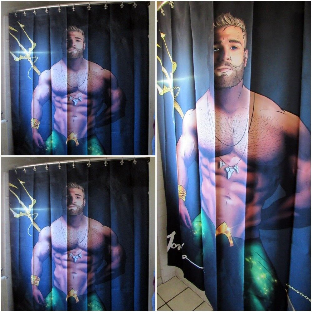 Licensed Jorden Arts AQUAMAN Shower Curtain Superhero Gay Butch Fetish