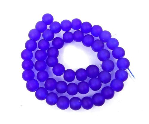 Matte 50 Czech Frosted Sea Glass Round Beads Cobalt 6mm