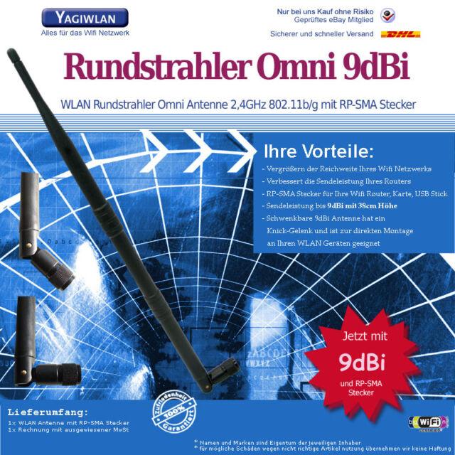 WLAN Antenne Omni Dipol Stab 9dBi RP-SMA Wifi TP-Link