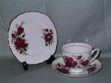 Colclough Bone China Trio Tea Cup Saucer & Side Plate Red Rose Pattern