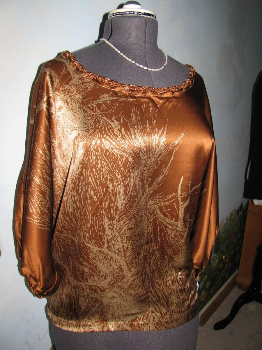 2B Rych Blouse Batwing Sleeve braun Silk Evening Tunic Top Größe Small New