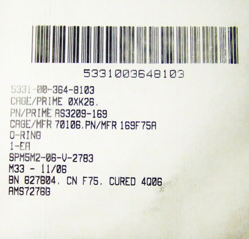 AIRCRAFT O RING SEAL AS3209-169 NOS 7.690 OD 7.487 ID .103 T RUBBER FLUORCAR FPM