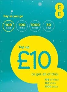Ee Pay As You Go Sim Card 10 Everything New Pack 1st Class Ship Free Ebay