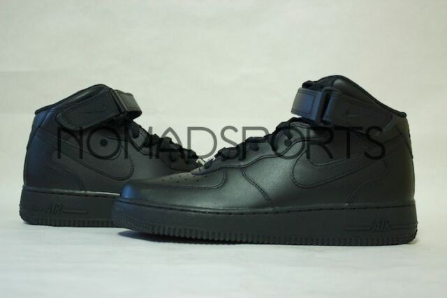4d196e47bdb Nike Air Force 1 Mid 07 All Black Af1 Mens Lifestyle Casual SNEAKERS ...