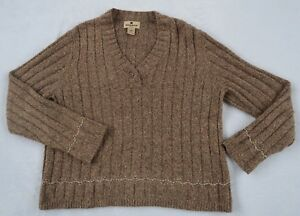 03b6920c36 Woolrich Women s Ribbed Wool Blend Long Sleeve V-Neck Taupe Beige ...