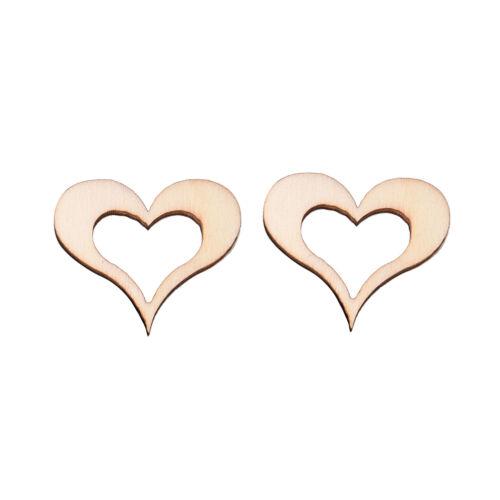 50X 3cm Wooden Mini Hollow Love Heart Wood Cutout Wedding Craft Embellishment Kj