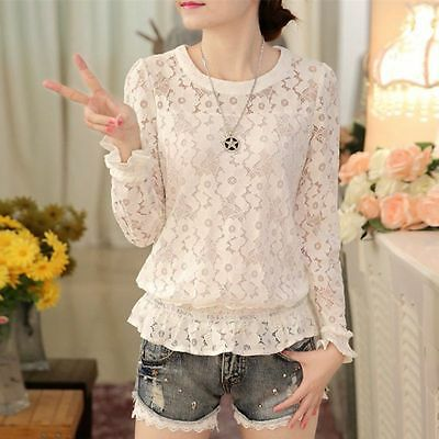 Retro Lady Hollow Crochet Black & White Lace Shirt Long Sleeve Loose Blouse Tops
