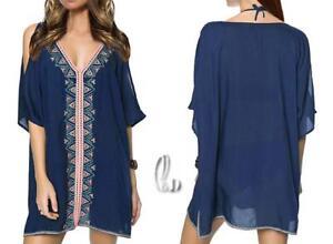 AU-SELLER-Cotton-Embroidery-Off-Shoulder-Kaftan-Kimono-Top-Beach-Cover-Up-sw081