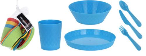 24 Piece Plastic Picnic Set Camping Food Set Caravan Plates Bowls Mugs Cutlery