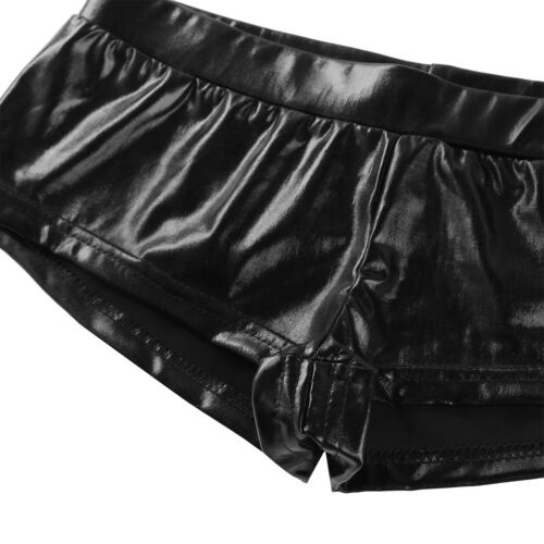 Women/'s Wet Look Hot Pants Metallic Leather Booty Shorts Bikini Dance Clubwear