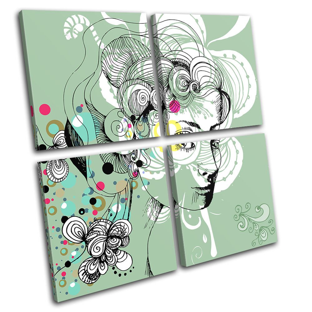 Floral Portrait Fashion Abstract MULTI TELA parete arte arte arte foto stampa 5d42f7