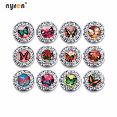 12pcs Glass Snap Charms Cute Birds Themes 18mm Snap Button For Snap Jewelry