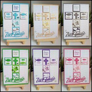 Details Zu Glückwunschkarte Zur Taufe Taufkarte Im Kreuz Design Geprägt Inkl Umschlag 3d