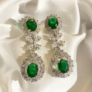 White-Gold-Statement-Dangle-Earrings-Sim-Diamonds-amp-Emeralds-37x16mm-GIFT-BOXED