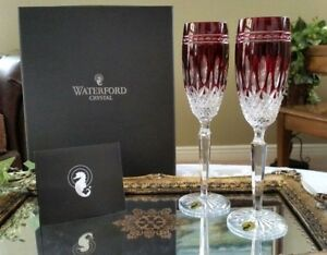Details About Waterford Clarendon Set Of 2 Ruby Red Crystal Champagne Flute Gles With Box