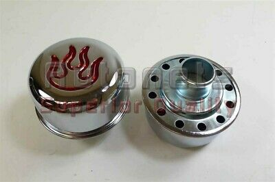 """Grommets fit 1.25/"""" Hole Chevy Ford Mopar 2x Chrome Flame Valve Cover Breathers"""