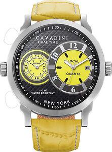 de-luxe-DUAL-TIME-Cavadini-Montre-Homme-Serie-New-York-en-JAUNE-NEUF