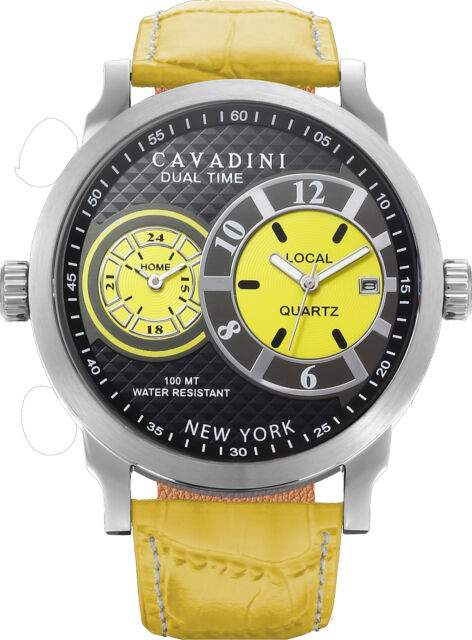 de luxe DUAL TIME - Cavadini Montre Homme Série New York en JAUNE NEUF